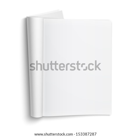 Blank open magazine template on white background with soft shadows. Vector illustration. EPS10. Stock photo ©