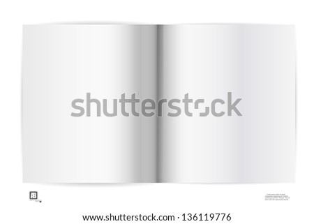 blank open notebook on the white background