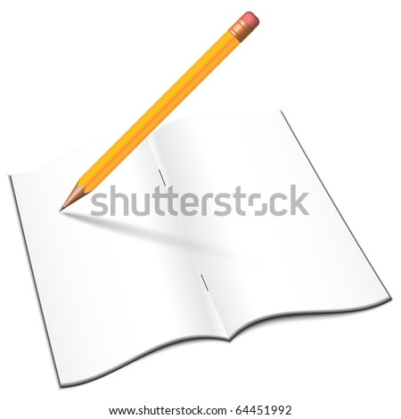 Blank open notebook with pencil, vector