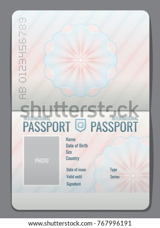 Blank open passport template isolated vector illustration. Document for travel and immigration illustration