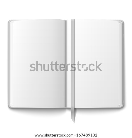 Blank opened copybook template with bookmark. Vector illustration.