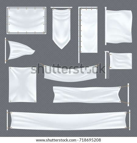 Blank or empty fabric template on transparent. Banner for commercial advertising or trade board, exhibition stand or promotion placard, roll-up and mock-up. Advertising and commerce theme