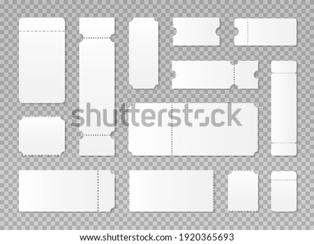 Blank or empty ticket template set. Cinema, theater, concert and boarding tickets. Discount and sales coupons. Vector illustration isolated on transparent background.