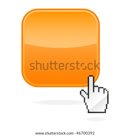 Blank orange glossy button and cursor hand with drop shadow on white - stock vector