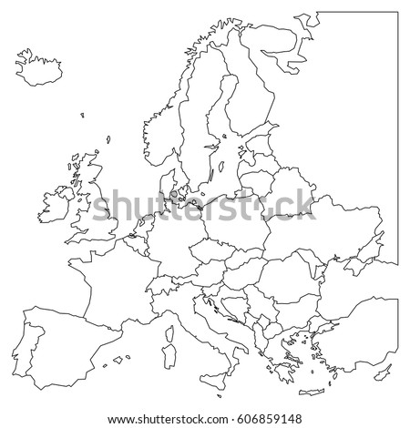 Blank outline map of Europe. Simplified wireframe map of black lined borders. Vector illustration.