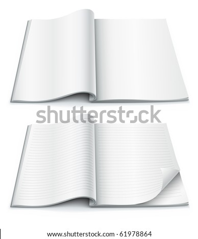 Blank pages inside of journal magazine with wrapped corner. Vector illustration isolated on white background