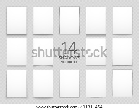 Blank paper cards with different transparent shadows isolated. Big vector shadow set for multipurpose design. Paper card shadow graphic illustration