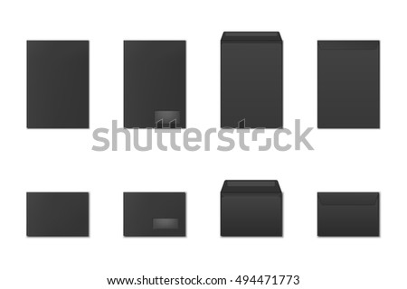 Blank paper envelopes set. Template for logo design. Vector EPS10 illustration.
