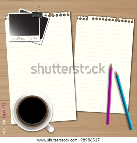 Blank paper for coffee menu on gray background. Vector format