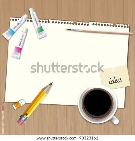 Blank paper for paint with coffee on wood background