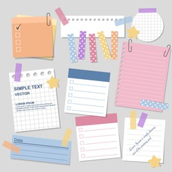 blank paper notes with elements of planning, vector, illustration design.