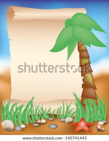 Blank paper scroll on summer background, vector illustration