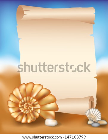 Blank paper scroll on summer background with seashell, vector illustration