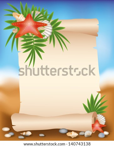 Blank paper scroll on summer background with starfish, vector illustration