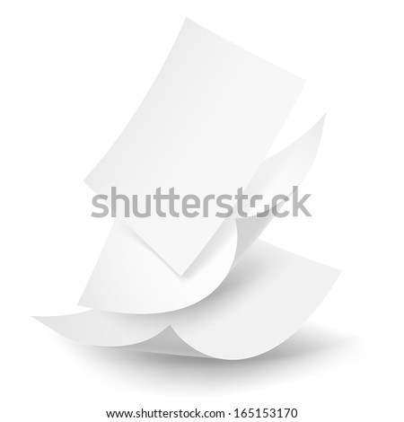 Blank paper sheets falling down. Illustration on white background.