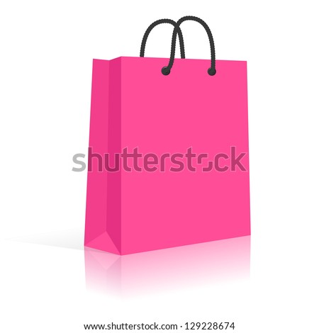 Blank Paper Shopping Bag With Rope Handles. Pink, Black. Vector, Isolated