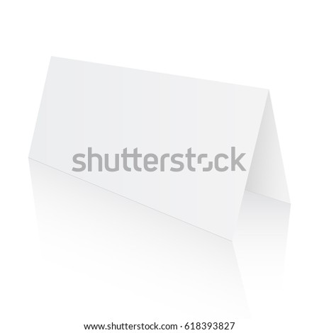 blank paper table card with reflection isolated on white background