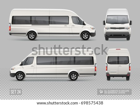 Blank Passenger Van Mini Bus vector Mockup for Advertising and Corporate identity on transport. Realistic Passenger Van front, rear, side view. Passenger transport isolated on grey background