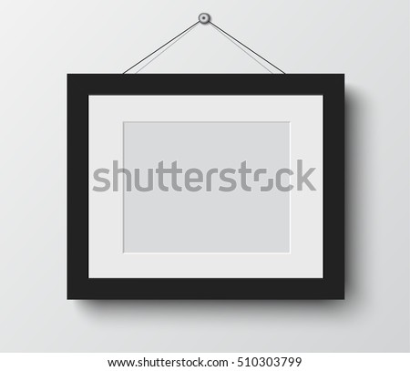 blank photo frame  on the wall. design for modern interior vector illustration #510303799