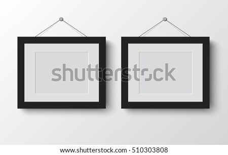 blank photo frame  on the wall. design for modern interior vector illustration