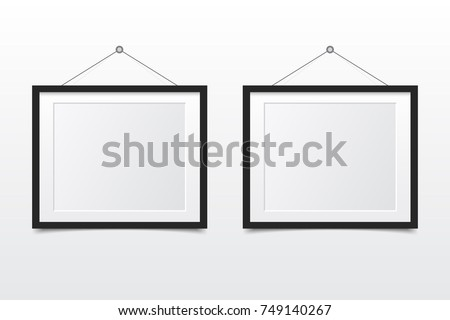 Blank photo frame on the wall. Design for modern interior. Vector illustration