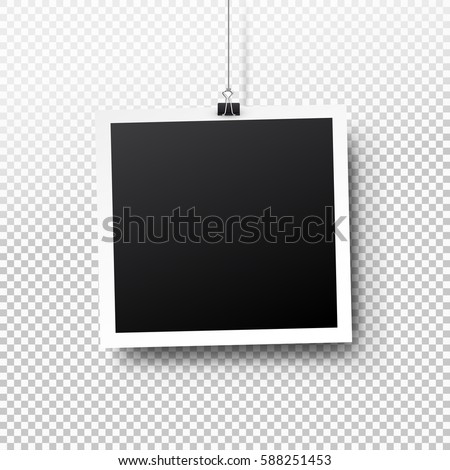 Blank photo frame set hanging on a clip. Retro vintage style. Black empty place for your text or photo. Realistic detailed photo icon design template. Vector solated on transparent background.