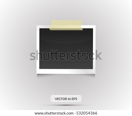 Blank photo frame sticked on duct tape. Vector illustration, eps 10. Retro vintage style. Black empty place for your text or photo. Realistic detailed photo icon design template.