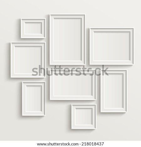 Shutterstock blank picture frame template set isolated on wall