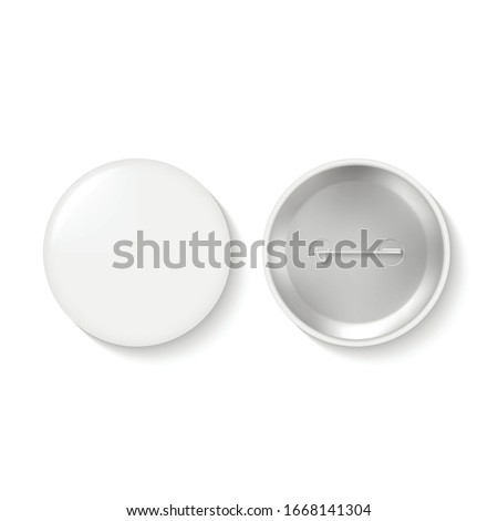 Blank pinback button or round badge isolate on white background. Metallic accessory with pin. Top and bottom views. Realistic vector illustration for promotional merchandise, advertising campaign. ストックフォト ©