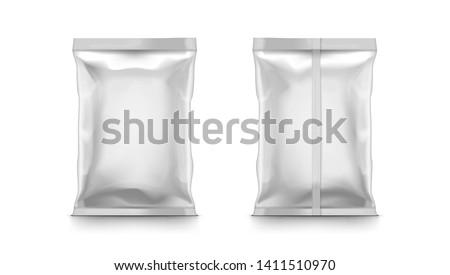 Blank Plastic Foil Bag Packaging For Food. EPS10 Vector Foto d'archivio ©