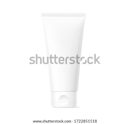 Blank plastic tube mockup for cosmetics with cap. Front view. Vector illustration isolated on white background. Can be use for your design, advertising, promo and etc. EPS10.