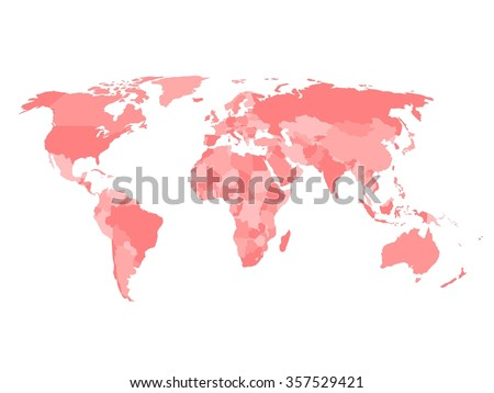 Blank political map of world in four shades of red and white background. Simplified vector map. #357529421