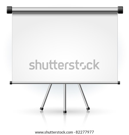 Blank portable projection screen over white background for design