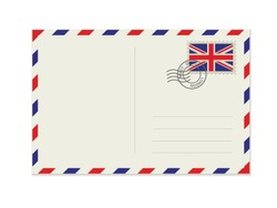 Blank post card with rubber stamp. Mockup realistic post card  and postage stamp with UK flag.