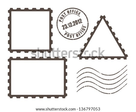 Blank post stamps, vector illustration