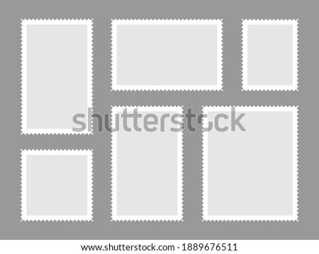 Blank postage shtamps set. Postage stamps frames for mail envelope. Empty templates. Foto stock ©