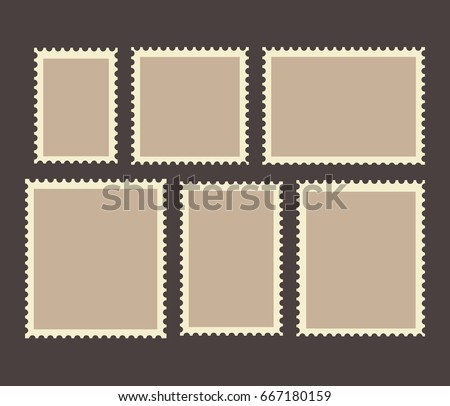 Blank Postage Stamps Frames Set isolated on background. Vector illustration. Eps 10.