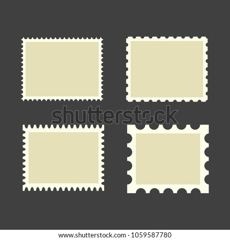 Blank postage stamps. Set on black background. Vector illustration.