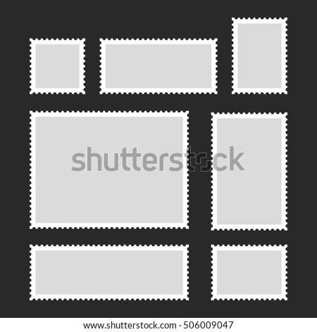 Blank Postage Stamps Set on Dark Background. Vector Illustration