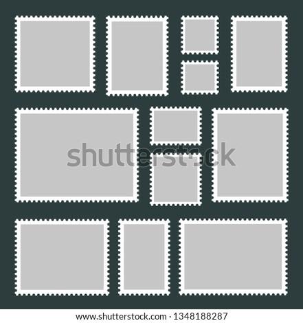 Blank Postage Stamps set. Vector illustration