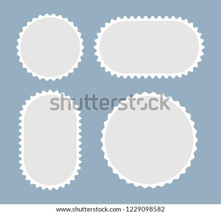 Blank postage stamps. Stamp blanks.  Vector illustration.