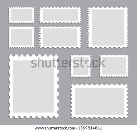 Blank postage stamps template set isolated on gray background. Collection of trendy postage stamps for label, sticker, app, mockup post stamp and wallpaper. Creative art concept, vector illustration