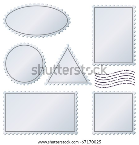 Blank postage stamps vector set isolated on white.