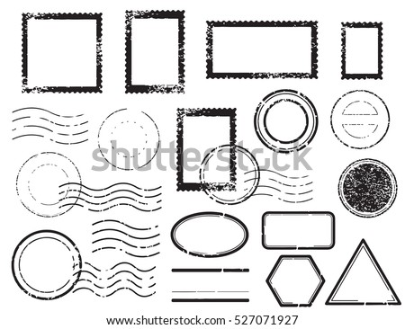 Blank postal stamps set.illustration vector