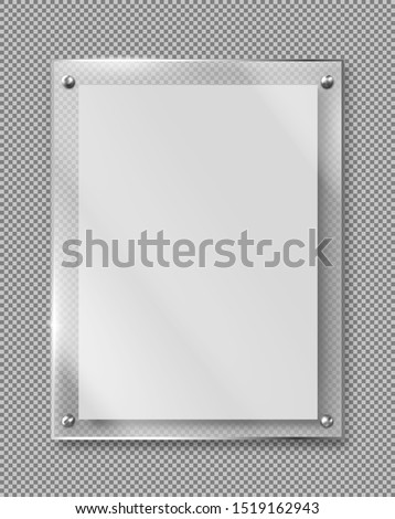 Blank poster in glass frame hanging on wall 3d realistic vector illustration isolated on transparent background. Empty photo frame template, rectangular name plate, banner plexiglass holder mock-up Stock photo ©