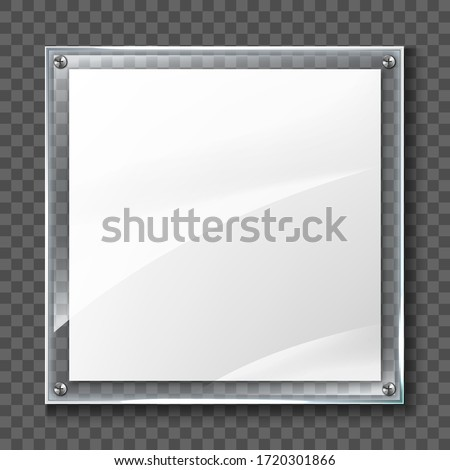 Blank poster in realistic glass frame isolated on transparent background. Transparent wall acrylic photo poster with display frame Stock photo ©