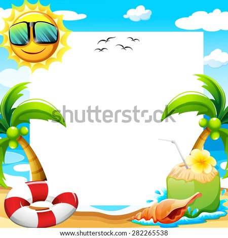 blank poster with beach view at