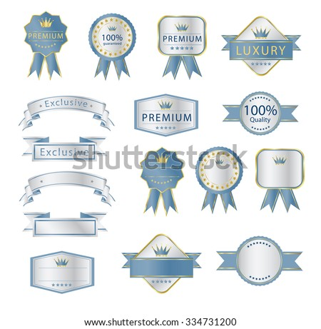 Blank Premium label and budges luxury soft blue and silver