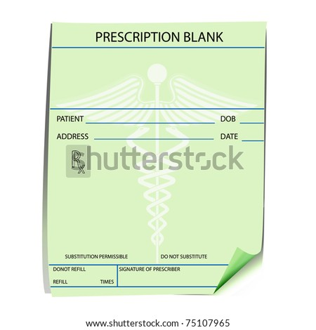 Blank prescription form - vector