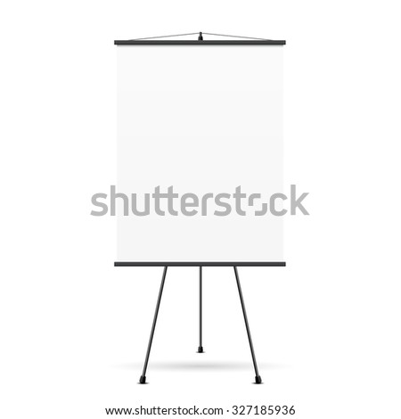 Blank presentation screen. White board for business, empty paper, vector illustration